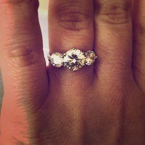 Faux 3-stone CZ engagement ring size 7